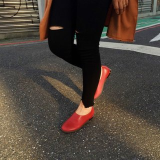Painting # 8011 || deep flat shoes walking out of a soft red classic shoes