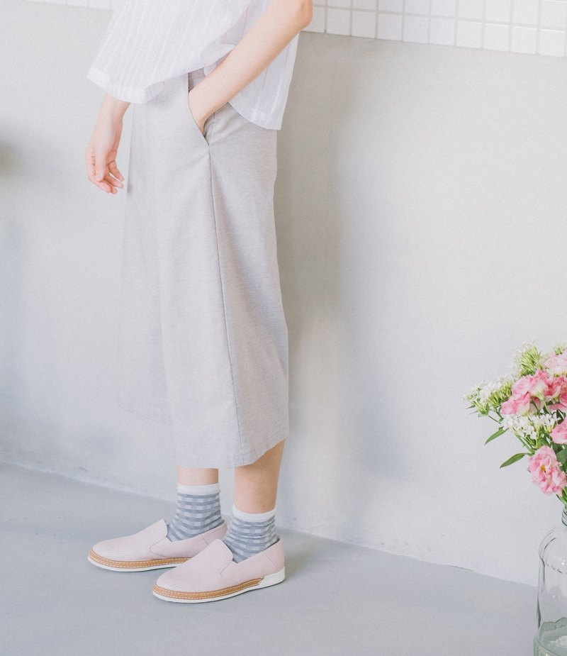 Cotton cropped wide pants - light grey