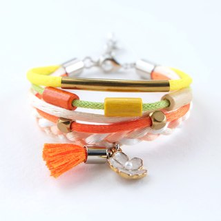 Colorful layer wrap bracelet with white flower and orange tassel