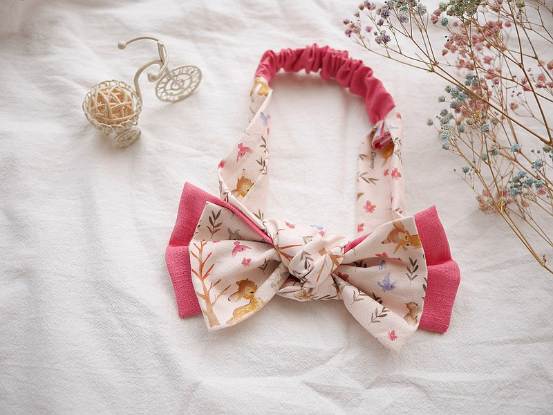 Pink bow deer with double bow hairband
