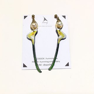 Embroidery Earrings - Almond can be changed ear clip
