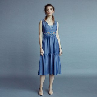 Denim V-neck layered dress