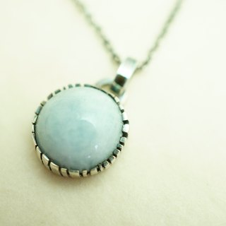 【janvierMade】Aquamarine Sterling Silver Pendant and Necklace  / Handmade Aquamarine and 925 Sterling Silver