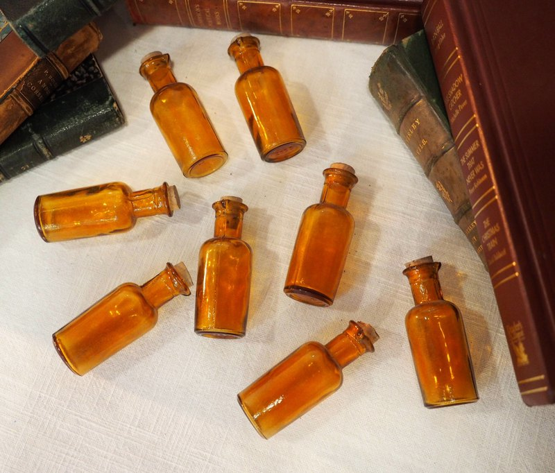 British-made 1950s antique brown medicine bottles sold individually
