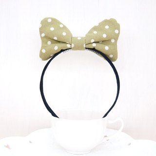 Cute little Minnie series - mustard green soft Q cloth butterfly hair ring