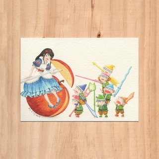 """Hong Kong Toys x Fairy Tales - Swordsman x Snow White"" watercolor illustration postcard"