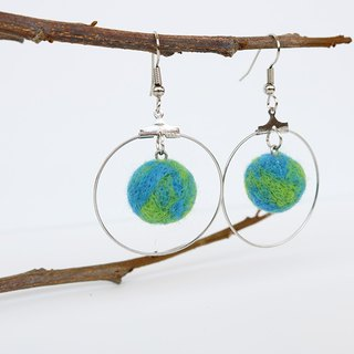 Planet Earrings - Earth Metal Circle Dangle Earrings (ear hook / ear clip)