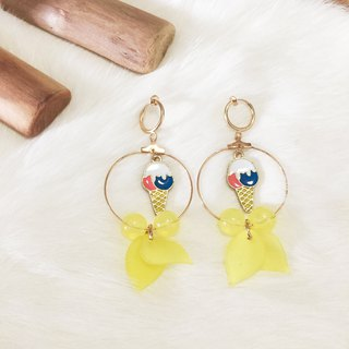 Yellow ice cream without earring circle ear clip painless earrings handmade