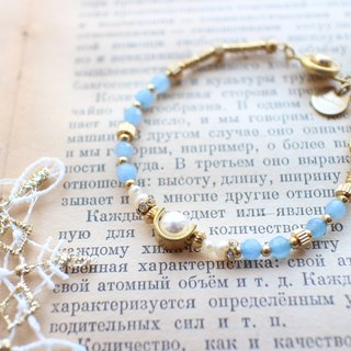 Blue fruits-Pearl brass bracelet