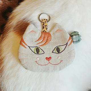Cute smiling orange tabby _ embroidery purse card holder