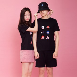 Summer cotton original printing couple T-shirt - character geometry