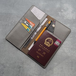 Multi-function pen pen wallet passport holder Italy imported wiping wax ash vegetable tanned leather handmade design customized