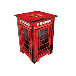 [Free Shipping] Germany Werkhaus color printing classic wooden stool with storage box - retro telephone booth