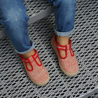 Spanish canvas shoes Mary Jane red glitter cloth George Little Prince 51005