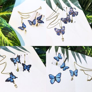 Pinkoi Sole | humming Embroidered Earrings Necklace Set - Butterfly Blue