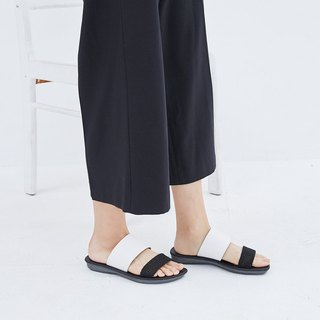 [Lazy fashion] the first layer of leather with soft bottom slippers - classic black and white