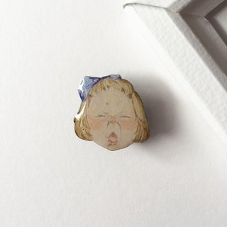 #16 SLEEPY Girl (Blonde) : Handmade Shrink Plastic Brooch