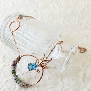 Collaboration limited - Ryukin - Swiss Blue Topaz with Sari silk Silver Necklace