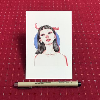 Postcard with red nose girl with antlers