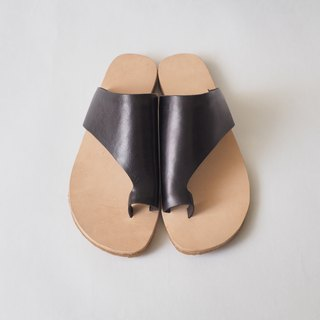 Love flower sandals - black and black leather