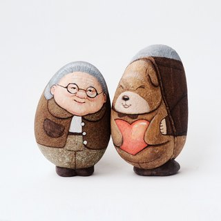couple lover stone painting original art.