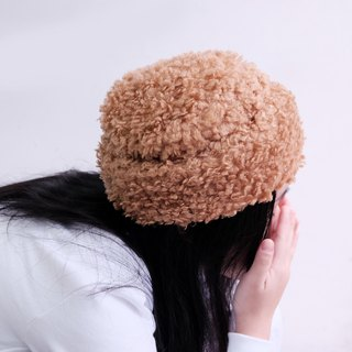 Curly teddy bear folding fur hat