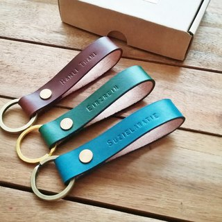 Christmas Gift - Leather Key Holder / Key Chain with Monogram (assorted colours)