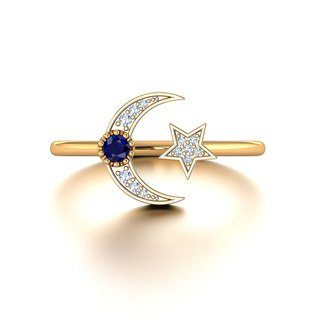 【PurpleMay Jewellery】18k White Gold Moon and Star Natural Diamond Ring Band R034