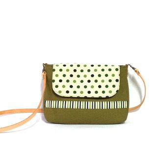 Button spot small shoulder bag-green, crossbody bag, handmade, canvas