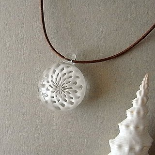 Icing suger Geometric pattern Pendant Leather Strap Glass Handmade
