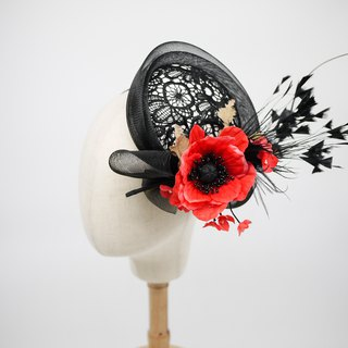 Millinery lace perching hat church hat with silk flowers