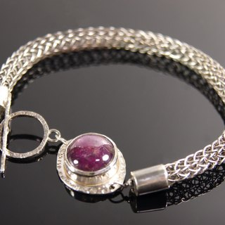 Pure hand-made knit forging knock-925 sterling silver bracelet inlaid Star Ruby - Crimson paragraph
