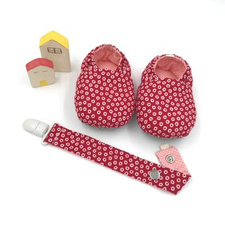 Small red flower - toddler shoes / baby shoes / baby shoes + single buckle strap clip