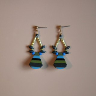 Retro Stripes Blue & Green Drop Earrings