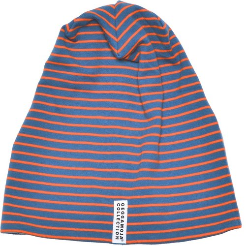 Nordic children's wear organic cotton striped hat dark gray blue / orange