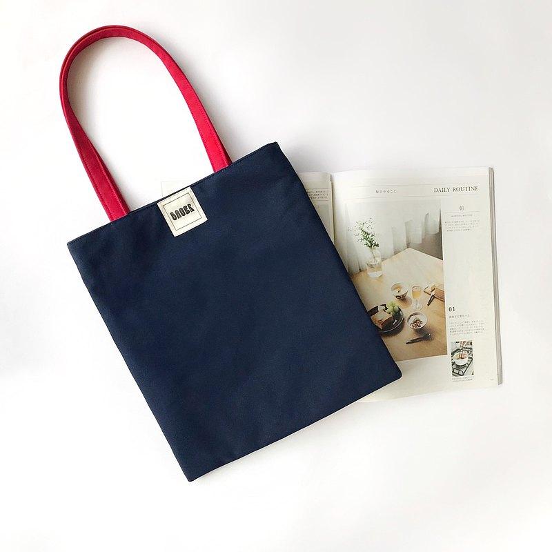 經典英倫拼色肩背帆布袋 (中) / 藏藍+紅