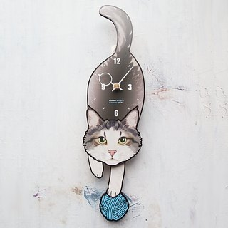 C-50 Gray‐White cat(Long hair) - Pet's pendulum clock