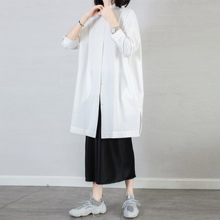 Capsule GAOGUO original design women's clothing 18 spring and summer white small collar simple shirt-style trench coat