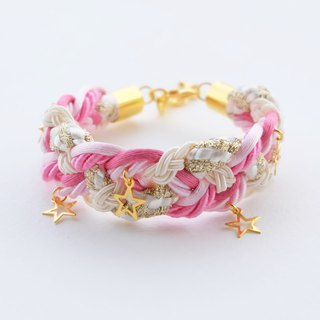 Pink cream braided bracelet golden stars