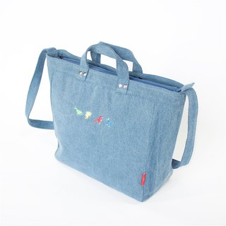 Dinosaur Embroidery Washed Denim 2-Ways Tote / Large