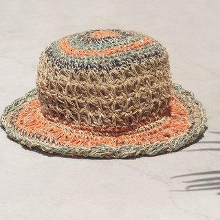Valentine's Day hand-woven cotton / cotton hat / fisherman hat / straw hat / straw hat - hollow woven lace cotton and linen hat (small hat)