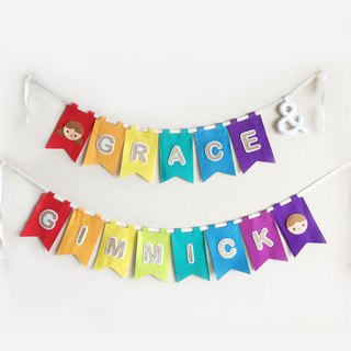 Alphabet square bunting for party, kids, baby shower, graduation, celebration
