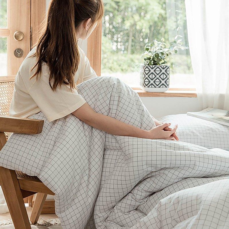 格子白 水洗棉 標準雙人四件組床包(台灣尺寸)