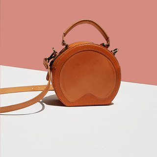 Leather Circle Bag / Round Bag / Round Crossbody Bag with Handle / Small Handbag