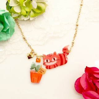 Catty in Wonderland Handmade Pink Cat with Drink Me Potion Necklace