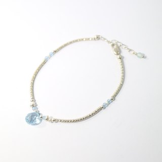 【ColorDay】Dazzling~托帕石_藍瑪瑙_天然珍珠純銀手鍊〈Topaz + Blue Agate + Pearl Silver Bracelet / トパーズ〉
