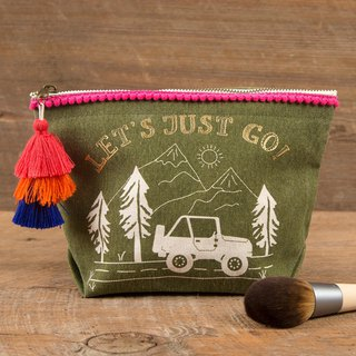 Wool Fringe Canvas Cosmetic Bag - Let's Just Go|BAG242