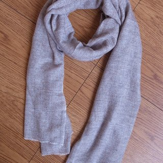 【Grooving the beats】Cashmere Stripes Shawl / Scarf / Stole Handmade from Nepal(Light brown)