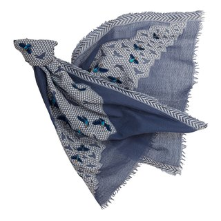 [Angel Woolen] micro dance Indian hand-embroidered beaded wool shawl - blue