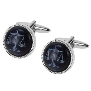Blue Cateye Scales of Justice Cufflinks